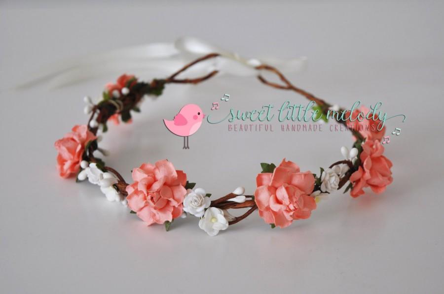 Свадьба - Coral Flower Crown, Wedding Flower Crown, Flowergirl Headband, Bride Flower Crown, Floral Crown, Flower Bridal Headband, Rustic Wedding,