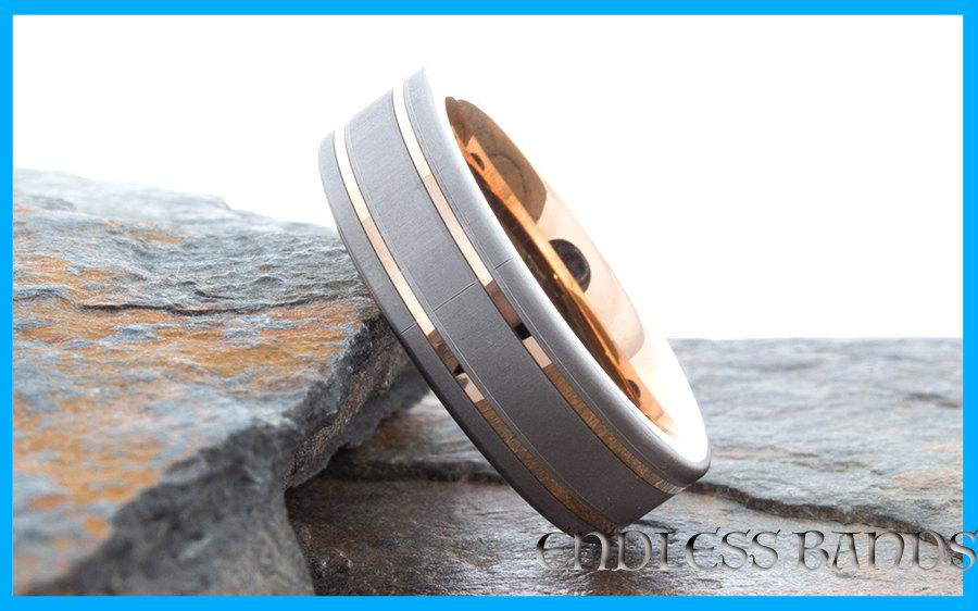 Mariage - Rose Gold Tungsten Wedding Band Ring Promise Anniversary Laser Engraving Mens Women Ring Rose Gold Two Tone Satin Finish Ring Comfort Fit