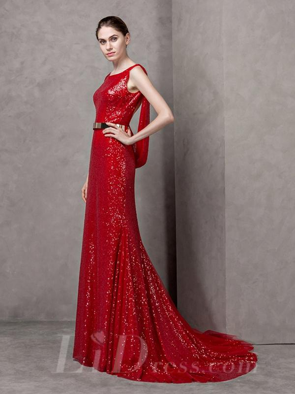 زفاف - Boat Neckline Lace Long Evening Dress with Open Back
