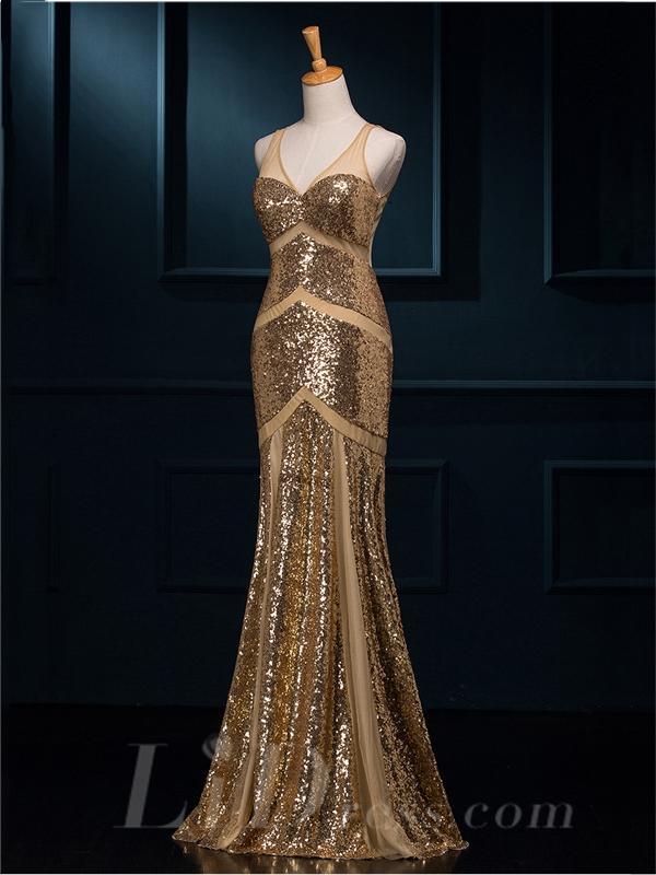 Hochzeit - Sheer Straps V-neck Mermaid Beading Evening Dress