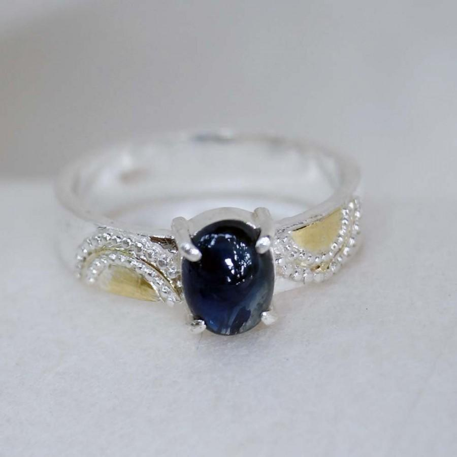Свадьба - Sapphire Ring, Engagement Ring, Gold Ornament Band Ring, Handmade Wedding Jewelry, Silver 925, Gold 18k