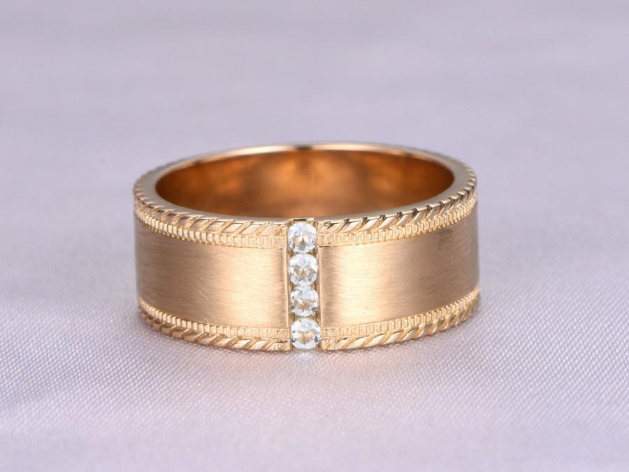 Wedding - Men's wedding Ring,Gold Wedding Band,4 Round Aquamarine,14K Yellow Gold,Brushed Engagement Ring,Twisted Edge Design,Vertical Channel Set
