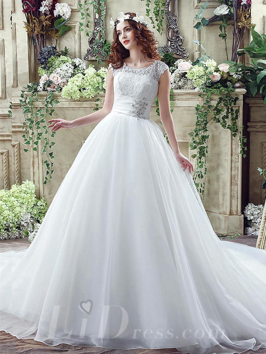 Mariage - Cap Sleeves Elegant Illusion Lace Beading 2016 Wedding Dress