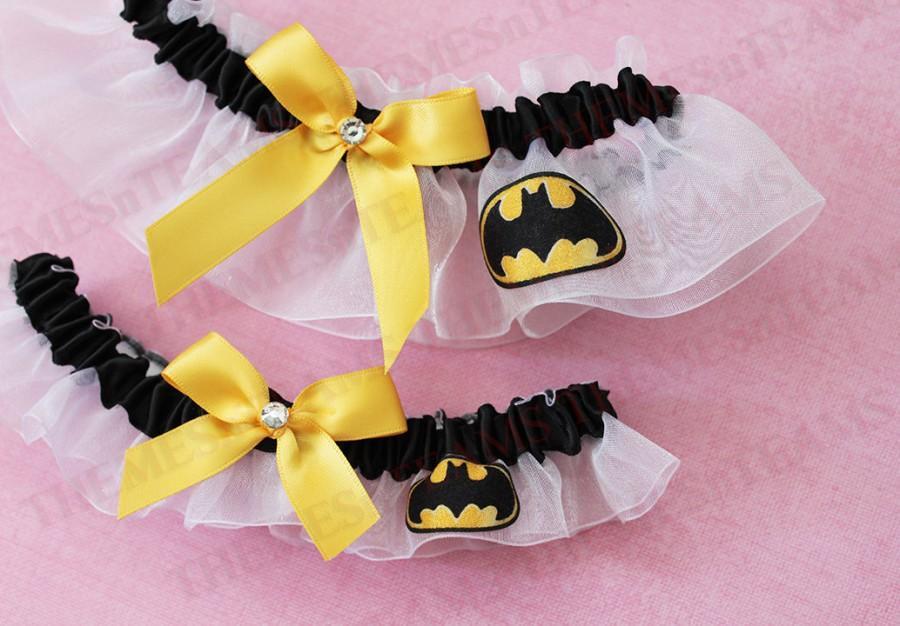 Mariage - set Batman handmade bridal garters - wedding party garter set