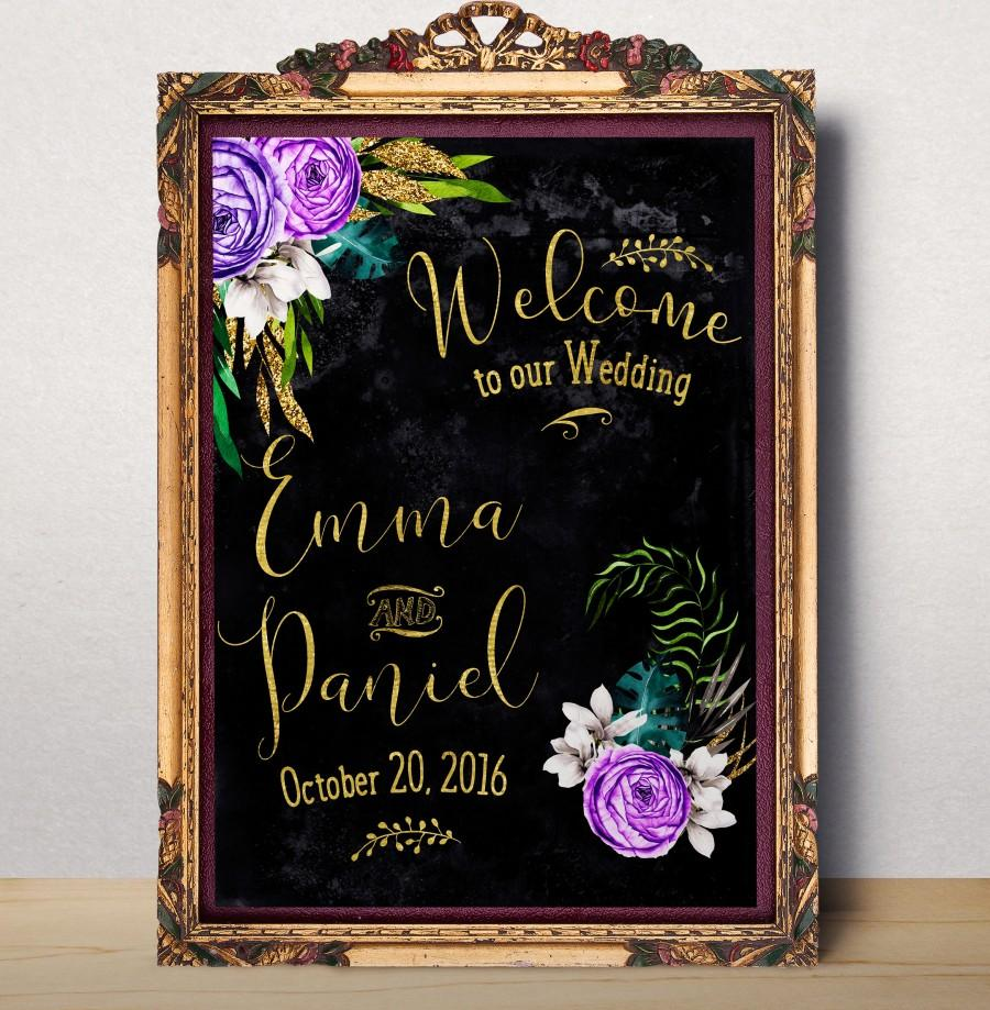 Wedding - Wedding Welcome sign Welcome to our wedding Printable Custom Wedding Sign Chalkboard modern floral wedding sign Welcome Poster idw25