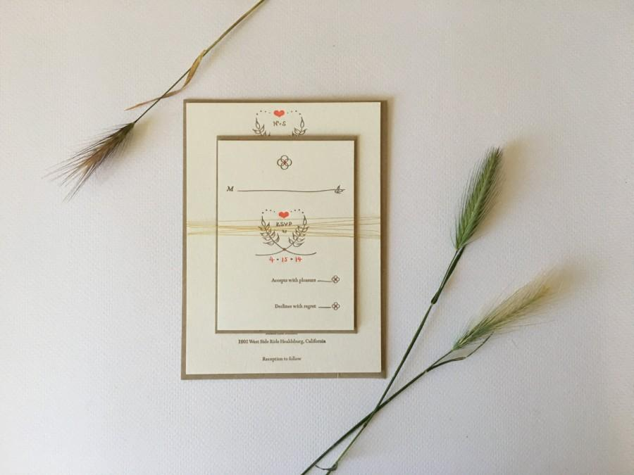 Wedding - Letterpress Wedding Invitation Package - Rustic Natural