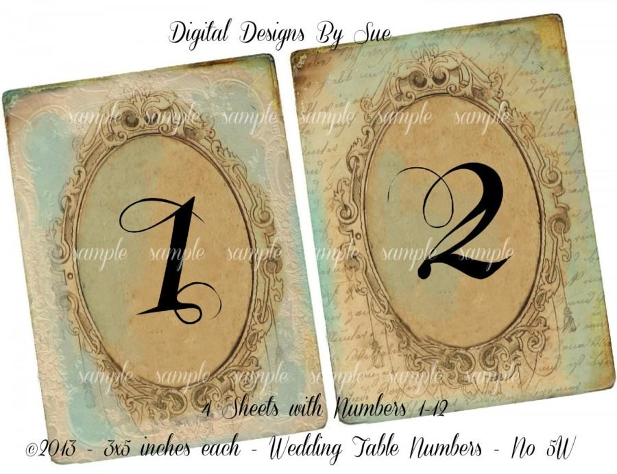 Instant Download   Vintage Wedding Table Number Cards No. 5W   3 X 5    Printable Digital Collage Sheet   Digital Download