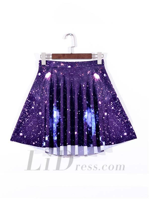 Wedding - Purple Star Sky Digital Emoji Pleated Skirt Skt1099