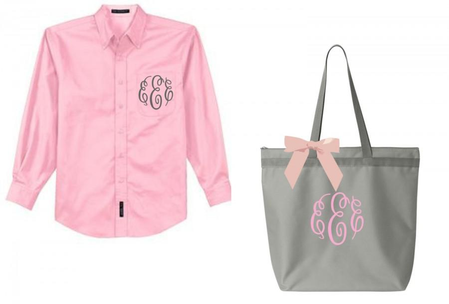 Hochzeit - monogrammed tote, bridal bags, monogrammed shirt, monogrammed bridal shirt, monogrammed bag, monogrammed shirt, bridesmaid gift