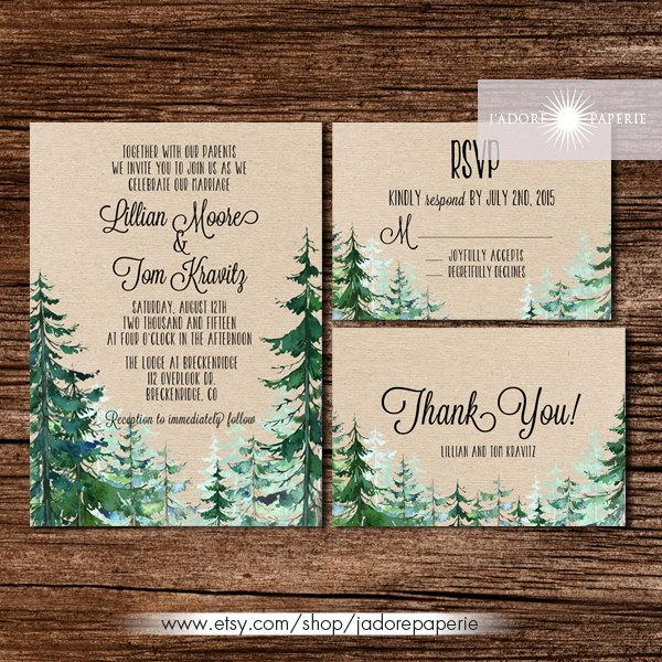 Wedding - Forest Wedding Invitation, Rustic Watercolor Tree Invite, Outdoor Wedding, Mountain, Pine Tree Invite, Rustic Wedding, Kraft, jadorepaperie