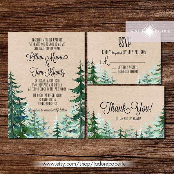 Hochzeit - Forest Wedding Invitation, Rustic Watercolor Tree Invite, Outdoor Wedding, Mountain, Pine Tree Invite, Rustic Wedding, Kraft, jadorepaperie