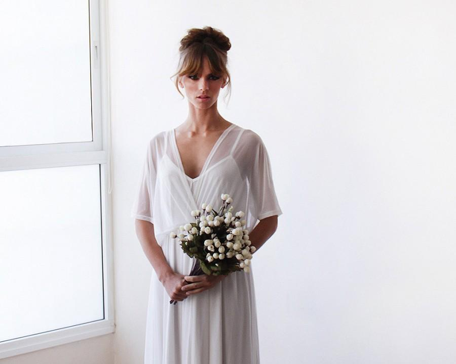 Chiffon Sheer Ivory Gown, Bridal Ivory Dress With Bat Wings Sleeves ...