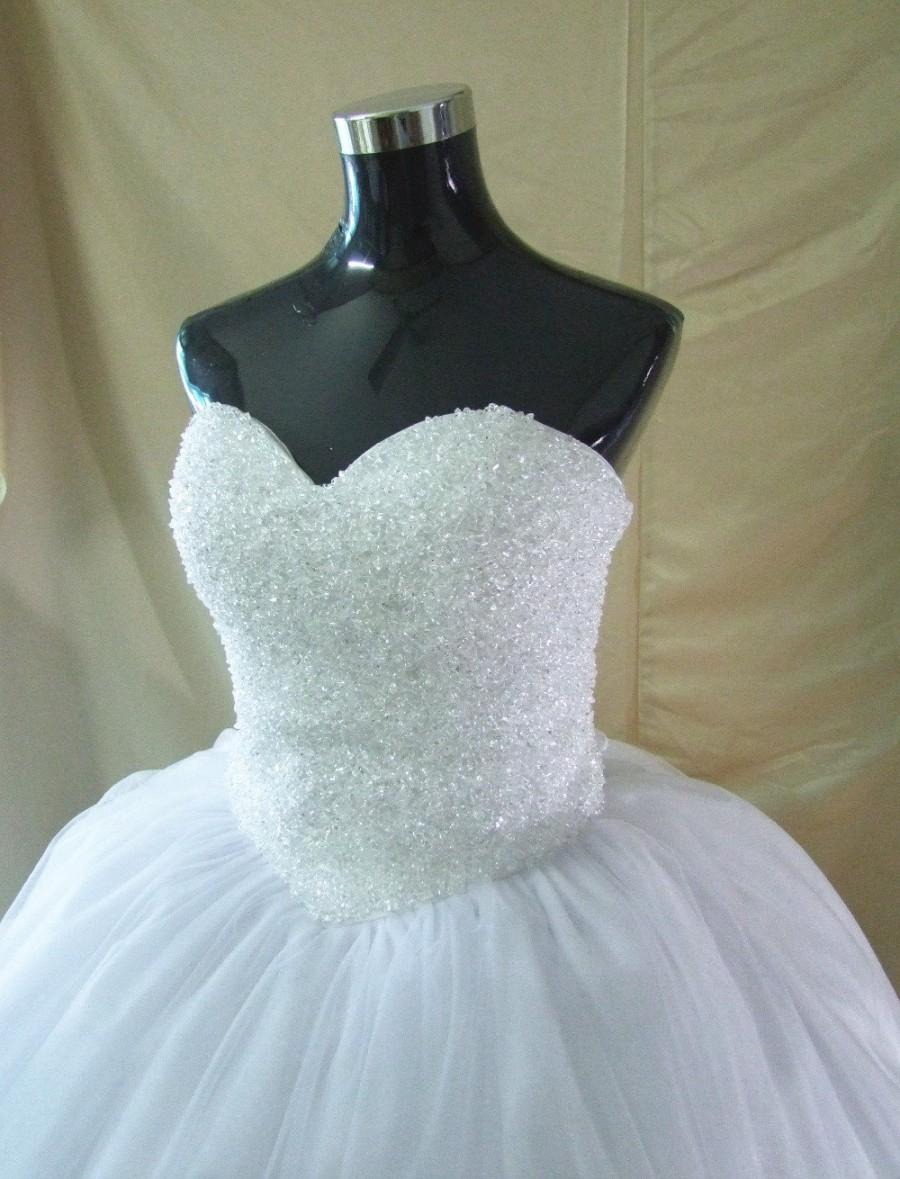 Princess Bling Crystals White Or Ivory Wedding Dress Vintage Bridal Gown Sweetheart Neckline Ball With Lace Up Back And
