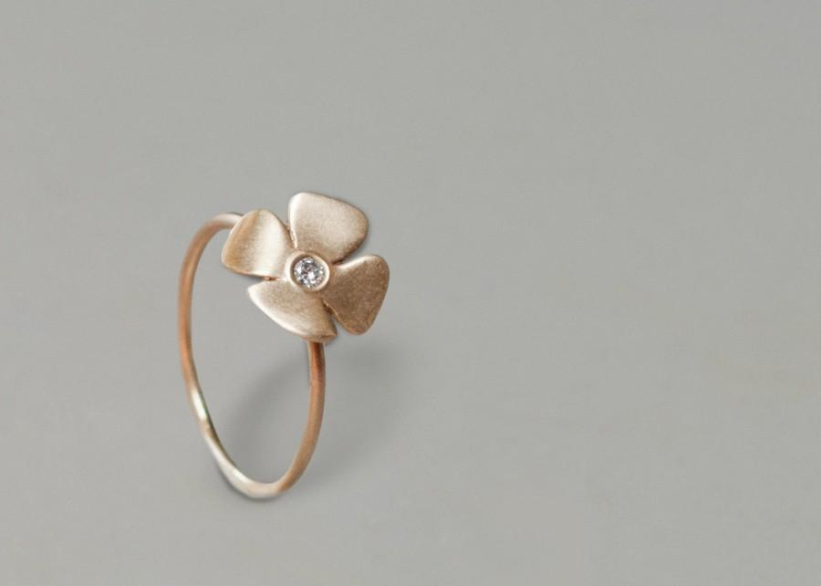 Mariage - Unique engagement ring - 14k yellow gold ring, engagement ring , diamond ring, flower engagement ring, flower  and diamonds ring