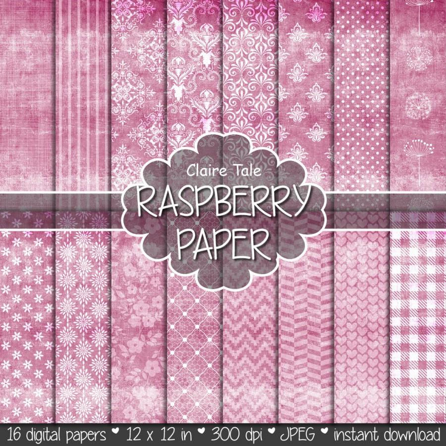 "زفاف - Shabby chic digital paper: ""RASPBERRY SHABBY CHIC"" with raspberry damask, crosshatch, flowers, lace, polka dots, stripes, hearts, gingham"