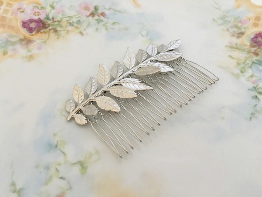 زفاف - Silver Leaf Hair Comb.Grecian Hair Comb.Silver Leaf Bridal headpiece.Silver Branch.Leaf fascinator.Leaf hair accessory.wedding hair piece