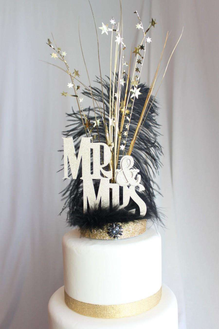 Gatsby Wedding Cake Topper Mr. & Mrs. Black And Gold Feather ...