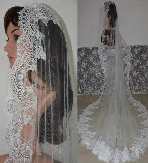 Mariage - MANTILLA LACE VEIL-Cathedral mantilla lace veil-Cathedral lace wedding veil