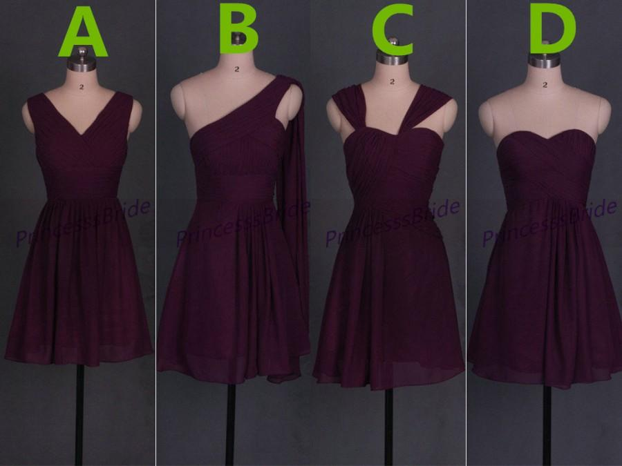Short Eggplant Chiffon Bridesmaid Dresses In 2016 Variety Of Styles Women Gowns Hot Simple For Wedding Party