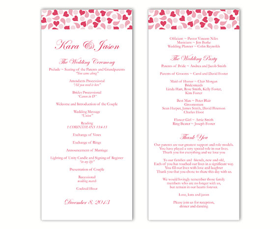 Свадьба - Wedding Program Template DIY Editable Word File Instant Download Program Pink Wedding Program Heart Program Red Printable Program 4x9.25
