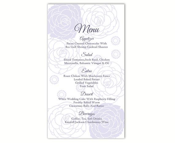Hochzeit - Wedding Menu Template DIY Menu Card Template Editable Word File Instant Download Gray Silver Menu Floral Menu Rose Printable Menu 4x7inch