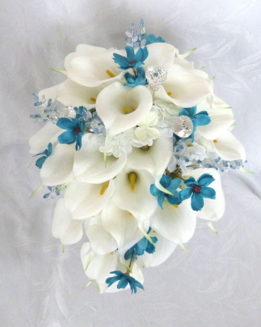 Свадьба - Calla lily and hydrangea cascading wedding bouquet set with turquoise cosmos and gem accents