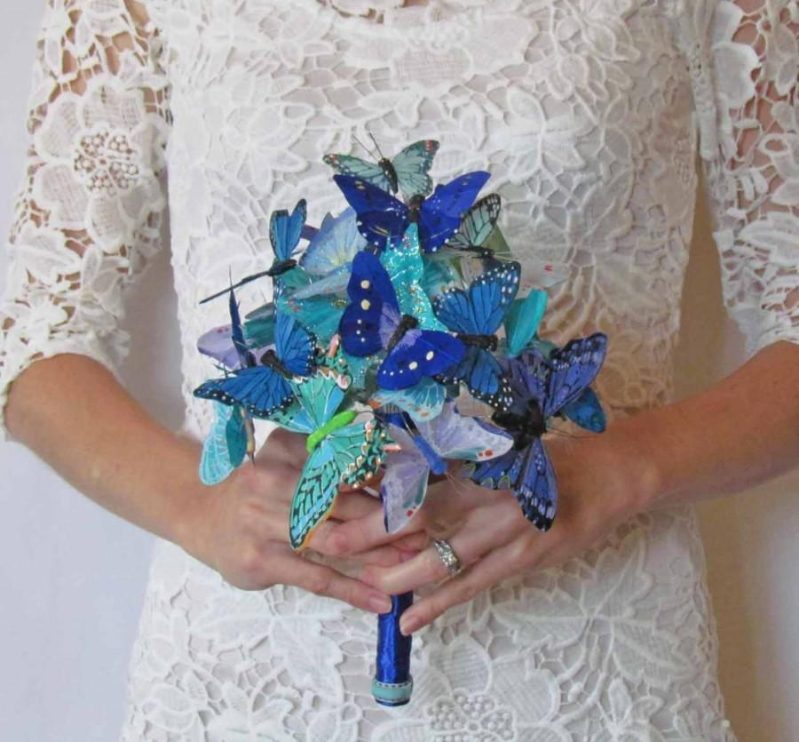 Свадьба - Blue & Teal Butterfly Bouquet for your Wedding. Avaliable in Two Sizes, you pick!!