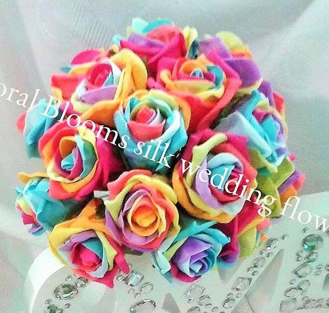 زفاف - Rainbow Rose Silk Bridal Wedding Bouquet