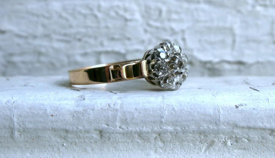 Mariage - Antique 14K  Gold Diamond Cluster Engagement Ring - 1.05ct.