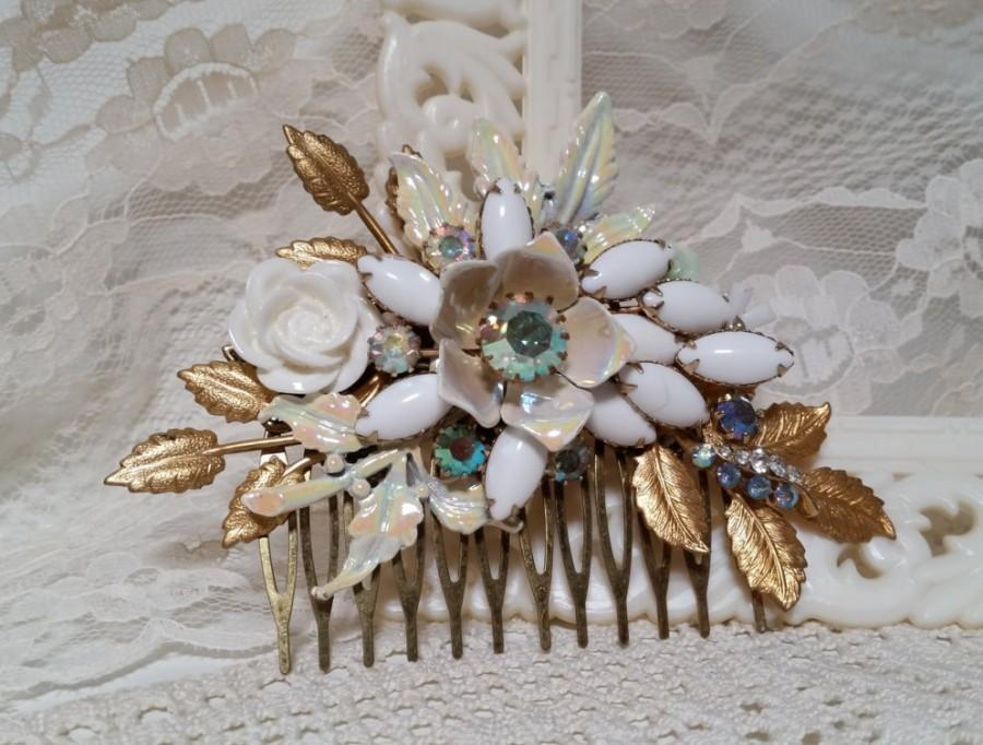 Свадьба - MORNING DEW VINTAGE Bridal Hair Comb Assemblage Bride White Milk Glass Iridescent Enamel Flowers Aurora Borealis Gold Leaves Mint Mother
