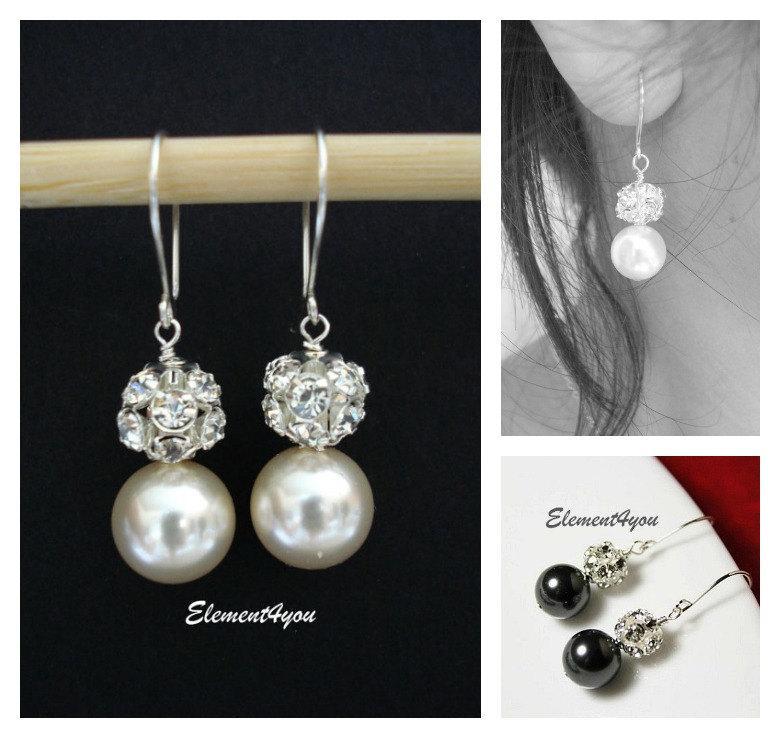 Mariage - Bridal Vintage Pearl earrings. Bridesmaids Pearl and Rhinestone earrings. Bridal dangle Earrings. Swarovski ivory black white purple pearls
