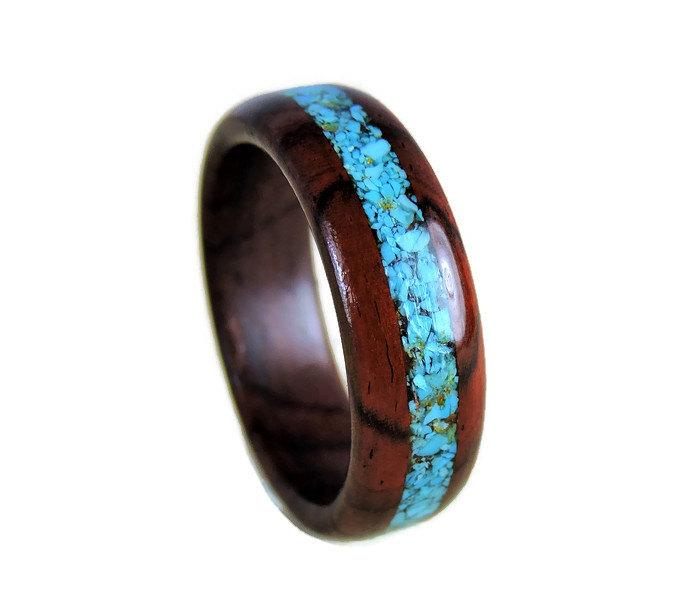 Wood Ring Cocobolo And Turquoise Ring Turquoise Ring Handmade