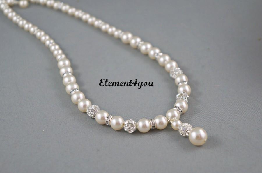 Mariage - Bridal necklace Wedding jewellery Swarovski pearls Rhinetone ball Silver Maid of honor gift Bridal Ivory white pearl Single strand Pendant