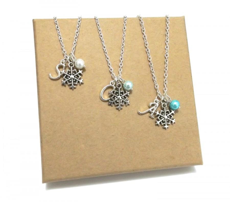 Mariage - Snowflake Necklace, Bridesmaid Gift, Flower Girl Gift, Bridesmaid Necklace, Flower Girl Necklace, Winter Wedding, Frozen Necklace