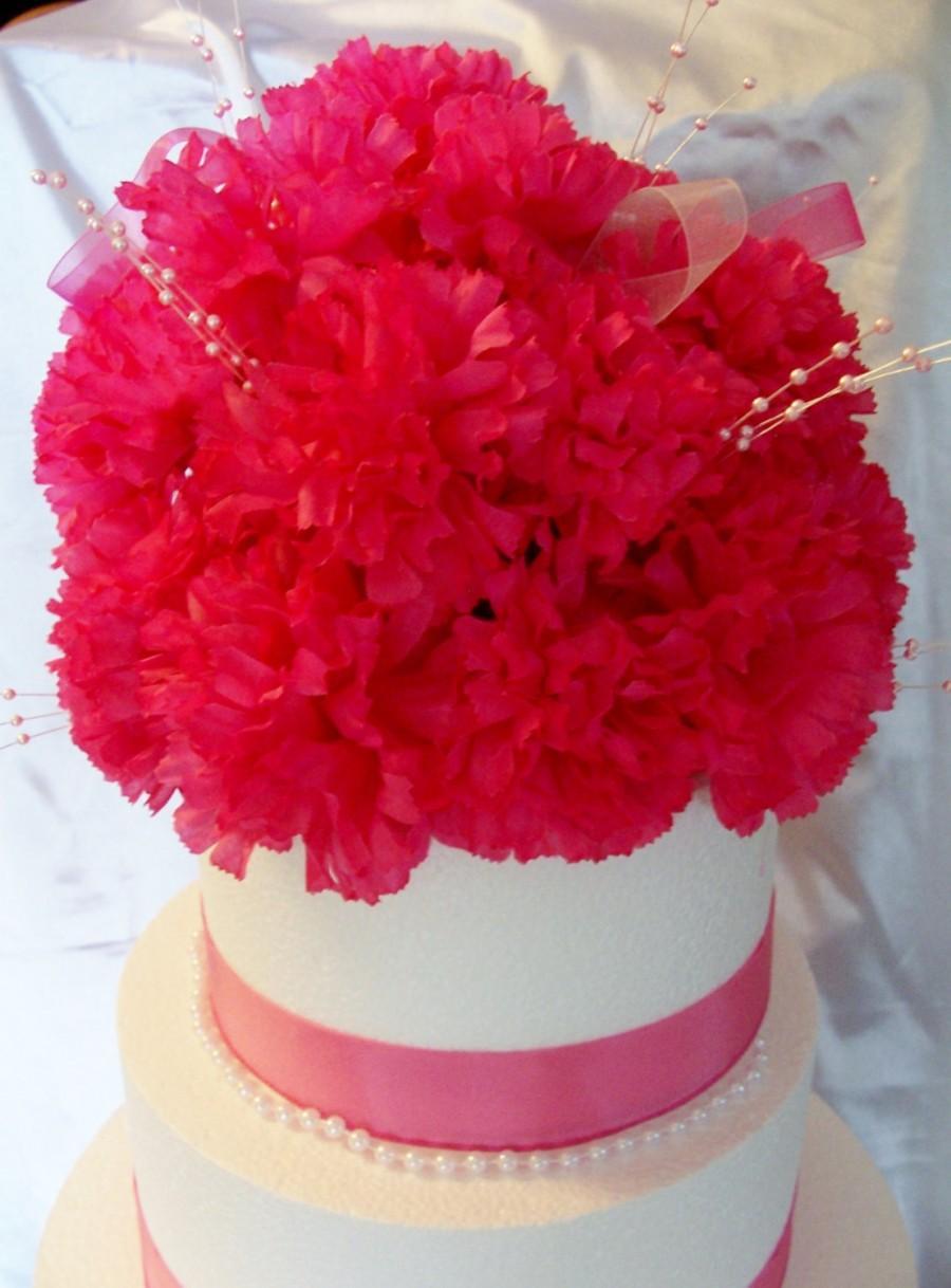زفاف - Hot Pink Carnations Floral Cake Topper