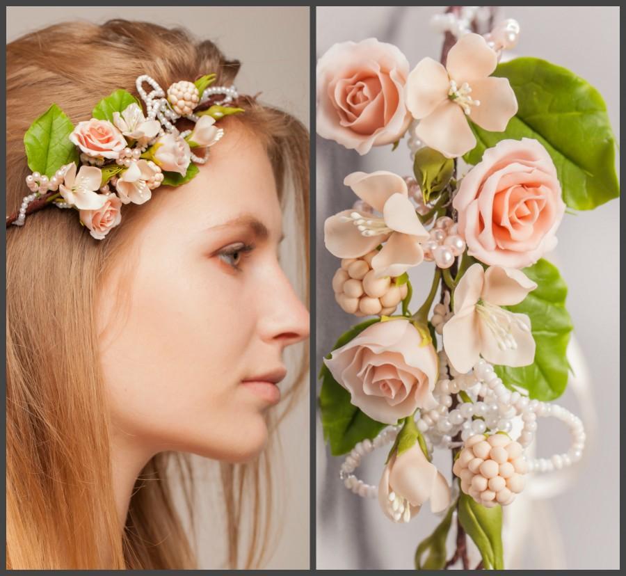 Wedding - Peach Rose Bridal Flower Crown, Wedding Hair Wreath