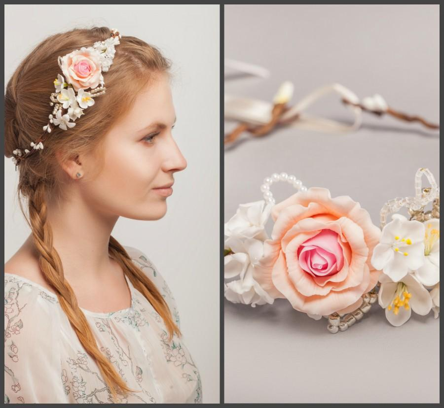 Pink rose bridal flower crown wedding hair wreath white flower pink rose bridal flower crown wedding hair wreath white flower hair accessories bridal halo wedding crown mightylinksfo