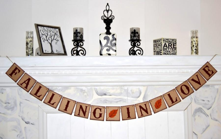 Mariage - FALLING IN LOVE Banner - Bridal Shower Banner - Banners Rustic Style - Fall in Love Banner