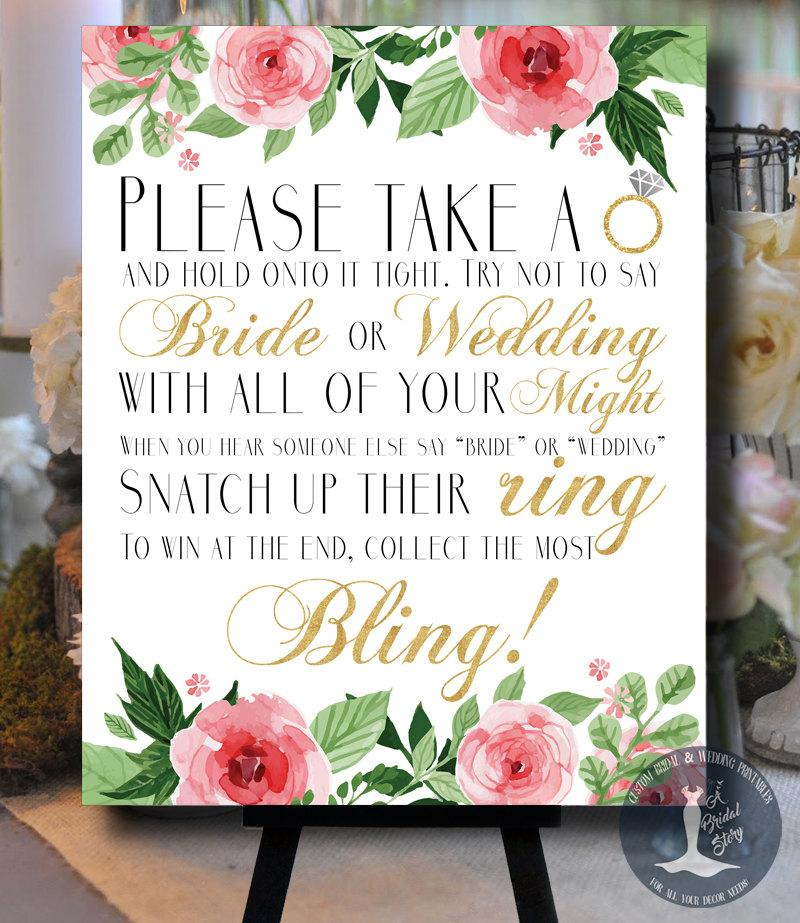 dont say bride or wedding floral pink and gold bridal shower game please take a ring bachelorette game guessing game 0002 g