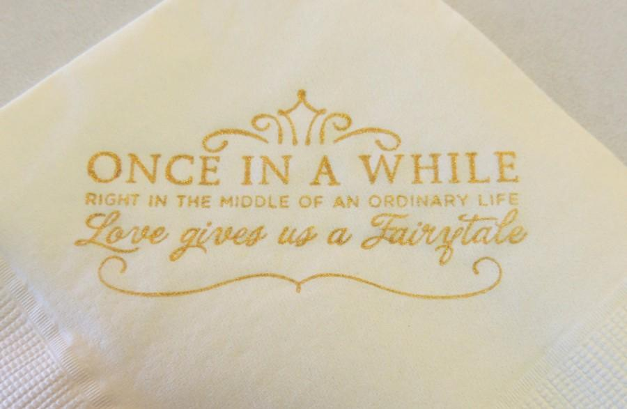 love gives us a fairytale cinderella wedding napkins gold white princess fairy tale bridal shower anniversary set of 12