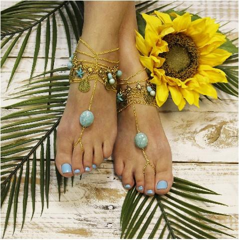 303bcf04dc3548 INDIAN SUMMER Boho Barefoot Sandals - Gold Turquoise  2559577 - Weddbook