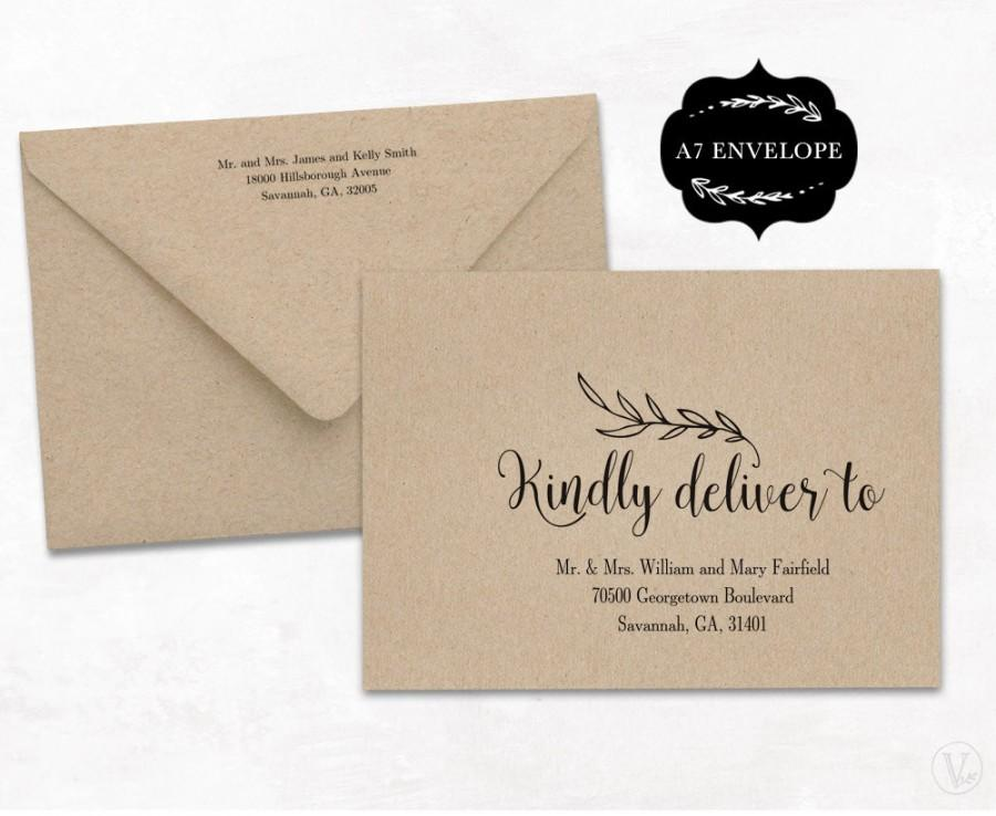 Mariage - Wedding Envelope Template, Printable Wedding Envelope Template, A7 Envelope Size, WE001