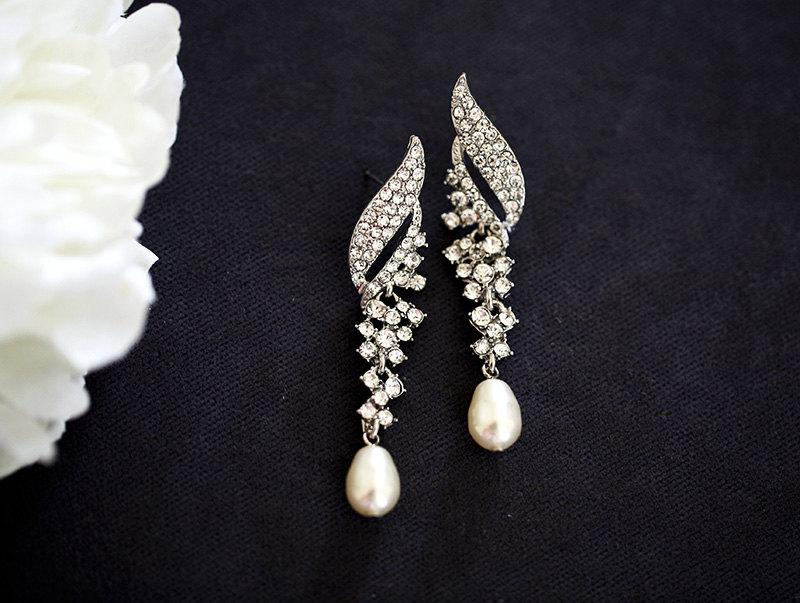 Mariage - Swarovski pearl  Bridal earrings, wedding jewelry, pearl jewelry, wedding earrings, crystal and pearl earrings