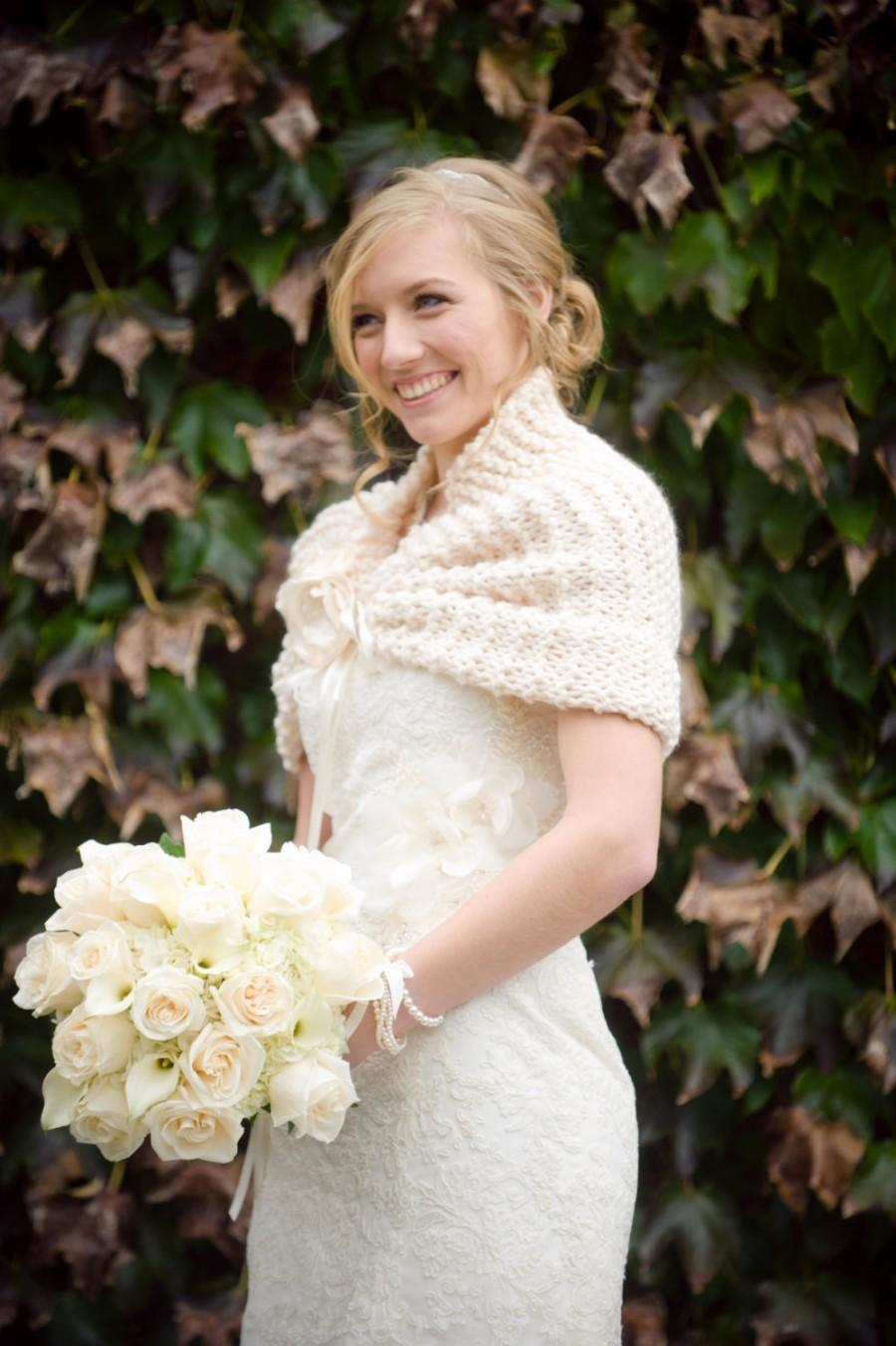 Wedding Shawl Cape Bridal Fall Bolero Ivory Winter Shrug Wrap