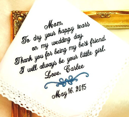Mariage - Personalized Handkerchief - Mother of The Bride Handkerchief -  Thank you for being my BEST Friend - LITTLE GIRL-  Personalized Hankerchief