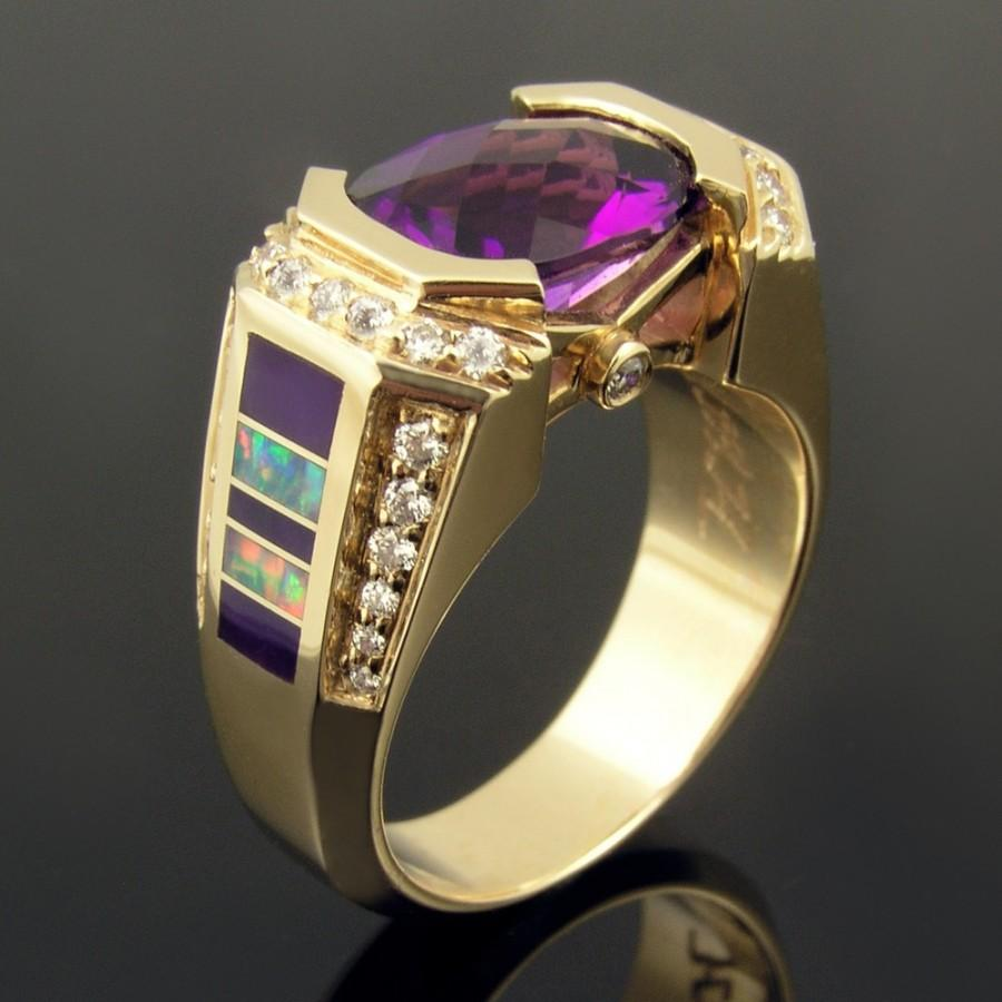 Wedding - Australian opal inlay ring with sugilite, diamonds and amethyst