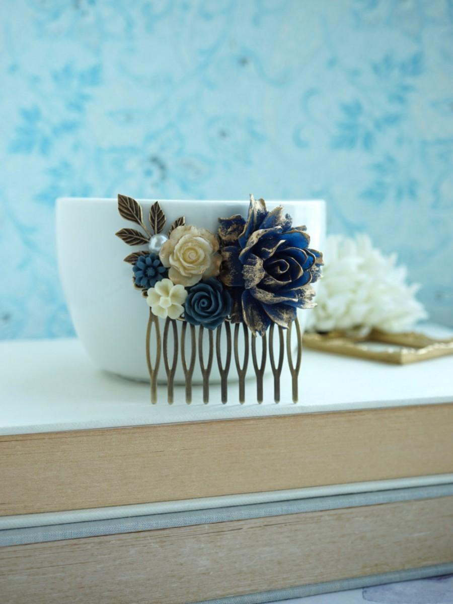 Wedding - Navy Blue Comb, Something Blue, Ivory and Gold Comb, Blue and Gold Comb, Unique Flower Comb. Fall Rustic Wedding. Navy Blue and Gold Wedding