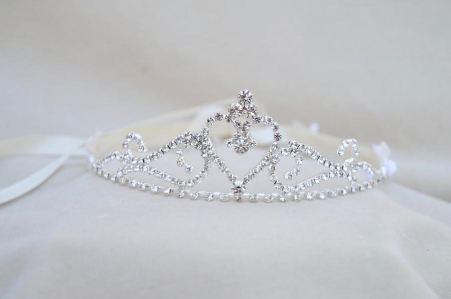 Свадьба - Girls Rhinestone Tiara / Flower Girl Tiara / Princess Tiara Girls Tiara / Princess Tiara / Cinderella Tiara /Flower And Rhinestone Tiara