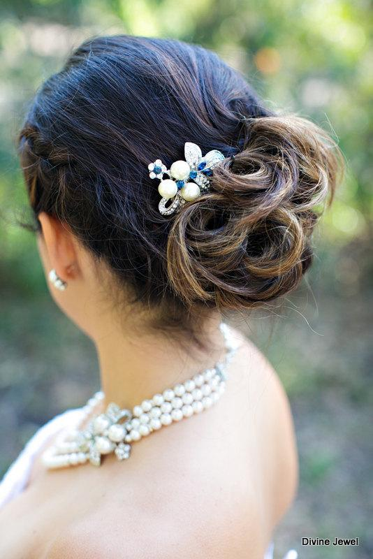 Wedding - Ivory or White Pearls Hair Comb,Wedding Hair Comb,Bridal Hair Comb,Bridal Rhinestone Hair Comb,Something Blue Hair Comb,Blue,Pearl,SHARON