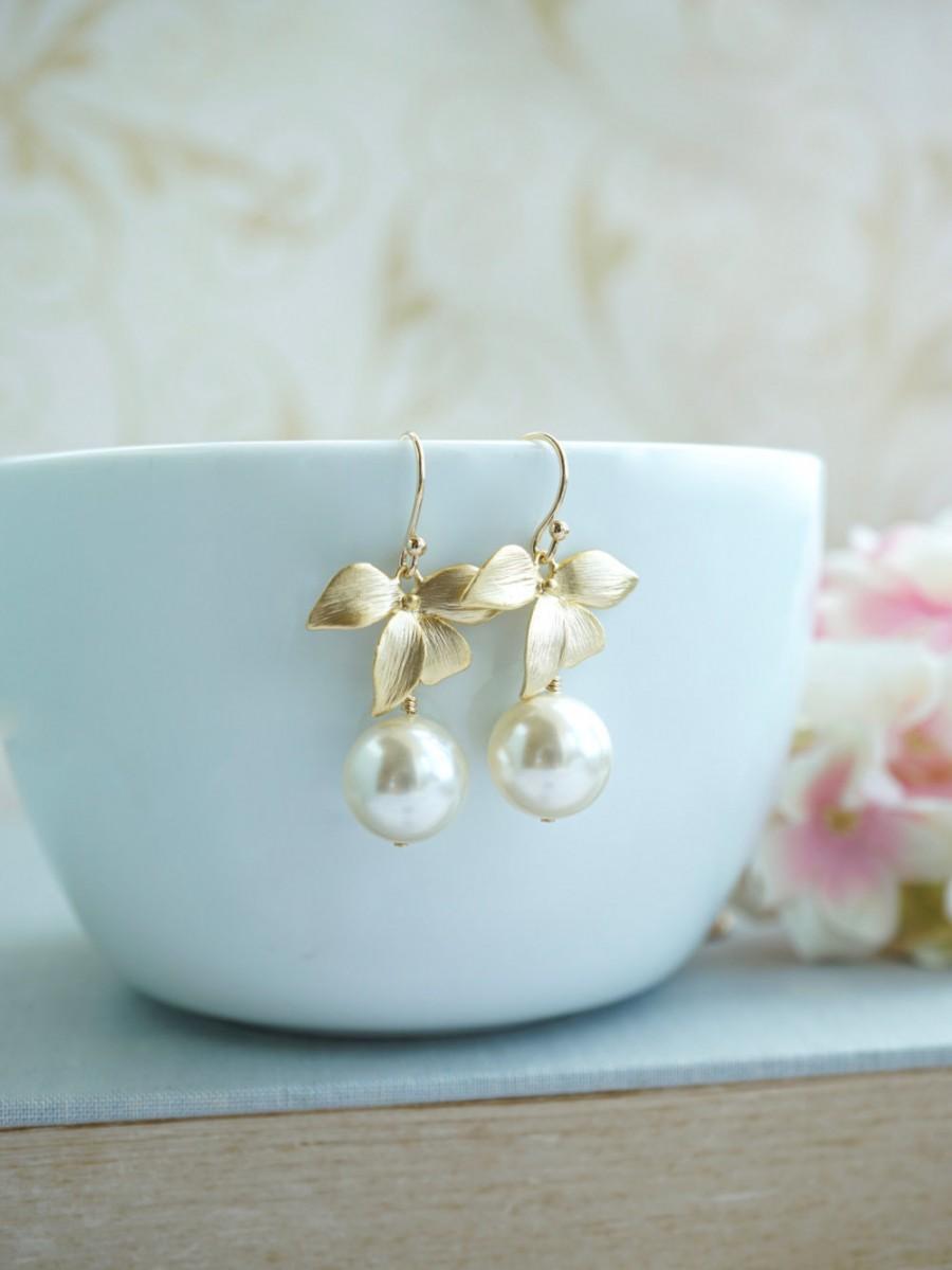 Gold Orchid Earrings, Orchid Earrings Dangle Earrings, Short Dangle  Bridesmaids Gifts, Gold Flowers, Garden Wedding